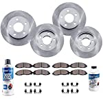 Detroit Axle - 2002 2003 2004 2005 Ford Explorer 4-Door Models Only & Mercury Mountaineer Complete FRONT & REAR Brake Rotors & Ceramic Brake Pads w/Hardware, Brake Fluid & Cleaner by Detroit Axle