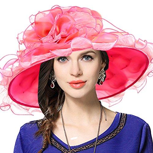 JESSE · RENA Women's Church Derby Dress Fascinator Bridal Cap British Tea Party Wedding Hat (Ruffle-Rose)