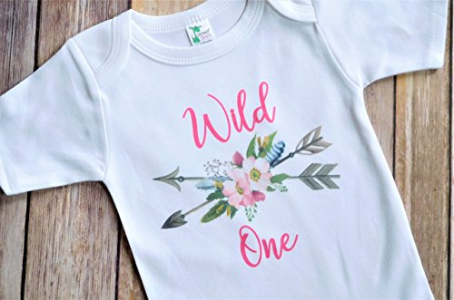 First Birthday Baby Girl Onesie - 12-18 Months Wild One - 1st Birthday Party Outfit