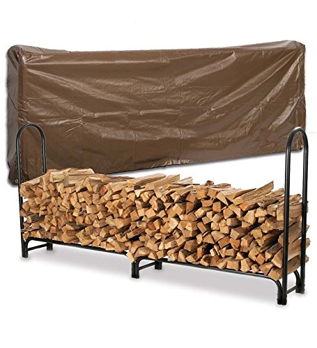 - Extra Large USA-Made Steel Log Rack And Vinyl Cover Set