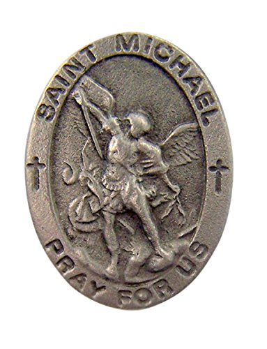 Fine Pewter Catholic Patron Saint Michael Medal Lapel Pin Pendant, 7/8 (Pewter Patron Saint Medal)