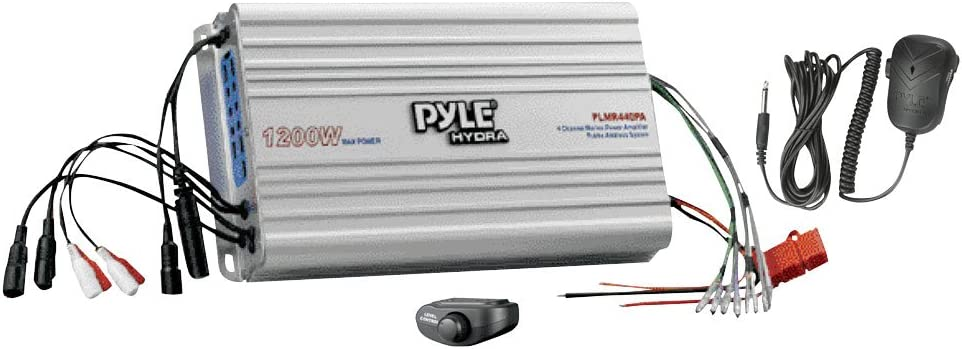 Amazon.com: PYLE PLMR440PA 4 Channel Marine Power Amplifier/Public Address  System,Grey: Car Electronics | Pyle Hydra Amp Wiring Schematic |  | Amazon.com