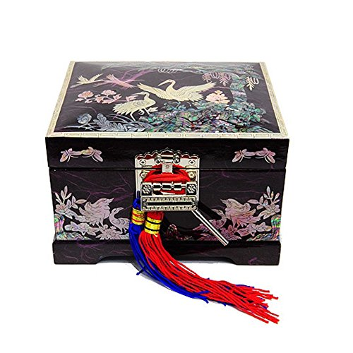 Mother of Pearl Jewelry Music Box, Asian Lacquer Wooden,Organizer with Crane Birds Designed BLACK