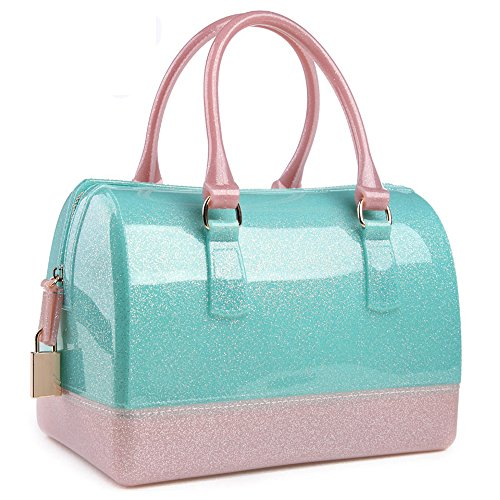Ladies Summer Jelly Pillow-shaped Top Handle Handbag Candy Color Transparent Crystal Purse (Shining Green Pink)