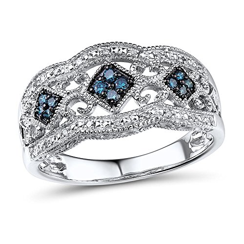 Blue and White Diamond Anniversary Ring Band in Sterling Silver 1/5 cttw