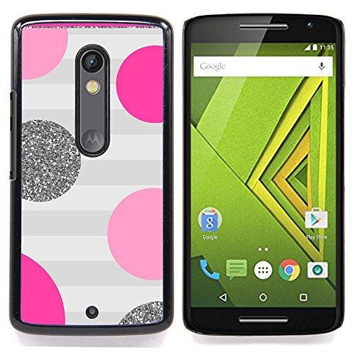 - Polka Dot Pink Purple Grey Stripes Glitter/ Hard Snap On Cell Phone Case Cover - Cao - For Motorola Verizon DROID MAXX 2 / Moto X Play