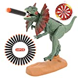 Dinosaur Toys Foam Dart Gun Dilophosaurus Realistic Model Assorted Dinosaur Figures with Roaring Sound and Lights Up Eyes Best Gift Toy for 3 4 5 6 7 Kids Boys And Girls (Dilophosaurus Version)