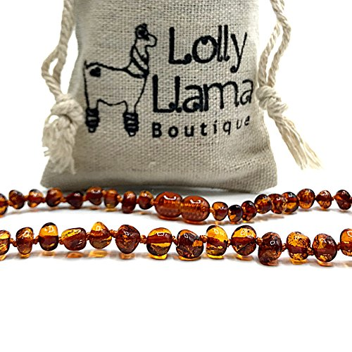 Baltic Amber Teething Necklace for Babies (Unisex) Drooling & Teething Pain Relief for Baby- Certified Genuine Baltic Amber - Cognac Baroque by Lolly Llama