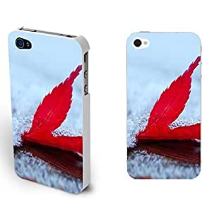 New Fashion Nature Landscape Design Personalized Hard Skin Case Cover for Iphone 4/4s Girly Mobile Phone Cover (By222: Red Maple Leaf)