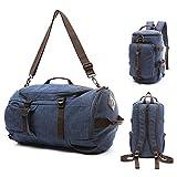 Canvas Travel Duffel Tote Multipurpose Luggage Bag Convertible Backpack Hiking Rucksack (Jean Blue)