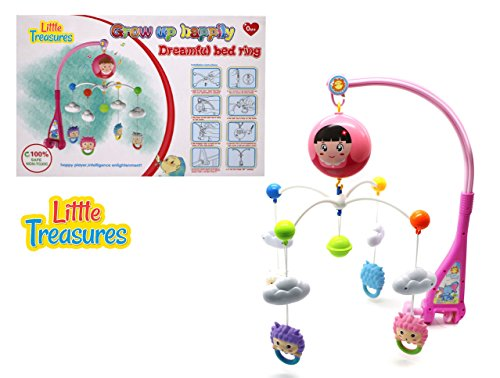 Grow Crib Series (Little Treasures Fun Character Baby Mobile with Music, Battery or A/C Operated Ages 0+)
