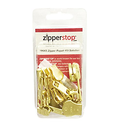 ZipperStop Wholesale - Zipper Repair Kit Solution YKK 8 sets Auto Lock Sliders Assorted 2 of #5, 2 of #7 , 2 of #8 and 2 of #10 Included Top & Bottom Stops Made in USA (YKK Brass Auto Lock Sliders)