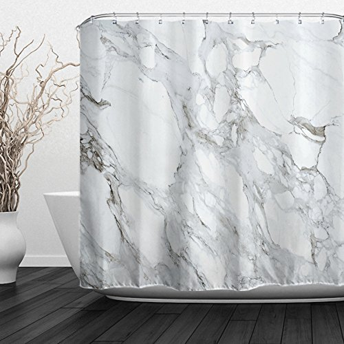 (ALFALFA Black and White Marble Design Shower Curtain with Hooks, Modern Style, Waterproof Fabric,  72