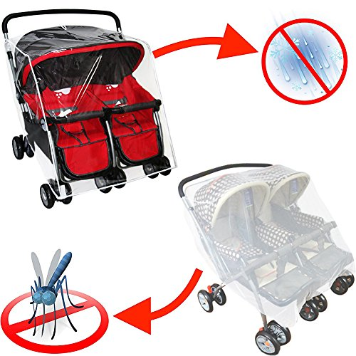 WINGOFFLY Rain Cover and Mosquito Net for Baby Twins Stroller Side by Side Universal Size Stroller Raincover Waterproof, Windproof and Anti-Insect by WINGOFFLY (Image #7)