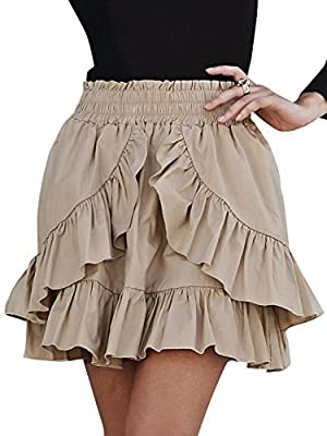 BerryGo Women's Casual High Waist Cotton Ruffle A Line Mini Skater Skirt