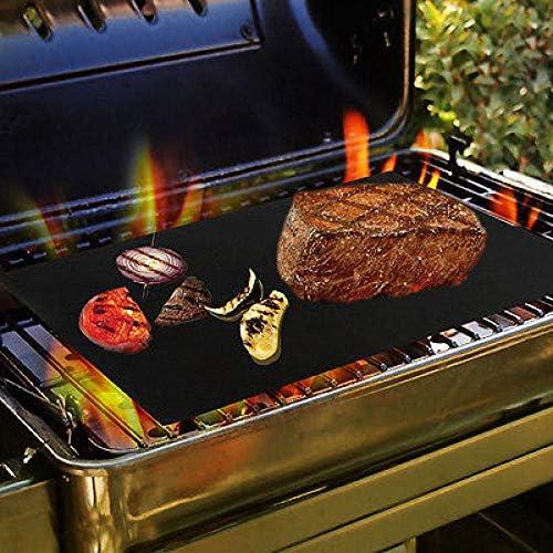 (N/A) Chaleur Facile, réutilisable, 40 * 30cm Tapis de Barbecue antiadhésif Tapis de Cuisson pour Barbecue Feuilles de Cuisson en téflon réutilisables-Noir 3pcs