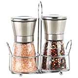 Premium Brushed Stainless Steel Salt and Pepper Grinder Set of 2, XIYIXIFI Salt and Pepper Shakers with Stand, Salt Grinder with Adjustable Coarseness, 6 Oz Glass Short Body, Salt and Pepper Mills Set