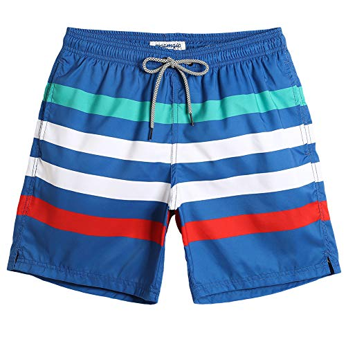 MaaMgic Mens Striped Swim Trunks Bathing Suits Board Shorts Swimming Shorts