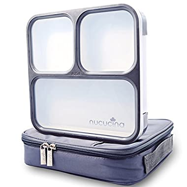 Nucucina Slim Bento Lunch Box Set - All-in-one Stylish Leakproof Food Container For Adults - Premium Square Design With Insulated Bag And Cutlery - Dishwasher Microwave Safe - Modern Take On A Classic