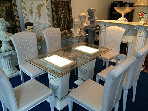 Jas-Min Mesa de Cristal Comedor iluminada Medusa Barroco columnas ...