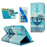 MOLLYCOOCLE Fashion Style Wallet Book Case Magnetic Design Flip Folio PU Leather Cover Standup Cover Case with Skyblue Skin Sea Anchors Pattern for iPhone 5 5S 5G