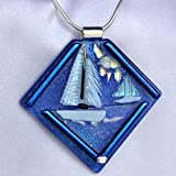 I LOVE SAILING Royal Blue White Sailboat Dichroic Fused Glass Jewelry Pendant Necklace