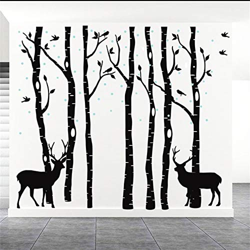Fymural Forest and Deers Tree Wall Stickers Art Mural Wallpaper for Bedroom Kid Baby Nursery Vinyl Removable DIY Decals 82.7x70.9,Black ()