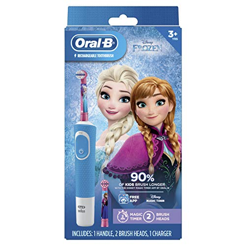 Oral-B Kids Electric Rechargeable Power Toothbrush Featuring Disney's Frozen, includes 2 Sensitive Brush Heads, Powered by Braun (Design May Vary) (Oral B Stages Electric Toothbrush)
