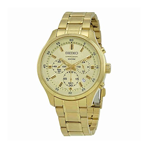 Seiko-Mens-43mm-Gold-Tone-Steel-Bracelet-Case-Hardlex-Crystal-Quartz-White-Dial-Analog-Watch-SKS592