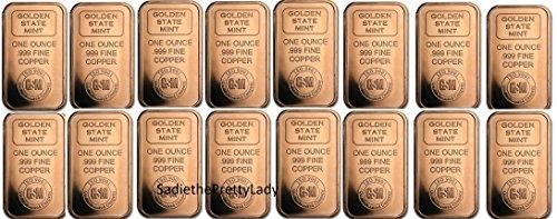 Bar Silver Bullion - One Pound .999 Fine Copper Bullion Dividable Into 16 Ounces
