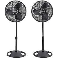 Lasko 16 Inch Oscillating 3 Speed Adjustable Pedestal Stand Fan, Black (2 Pack)