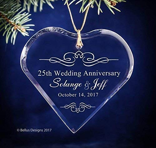 (25th Silver Wedding Anniversary Simple Flourish Keepsake Crystal Heart Ornament Christmas Holiday gift with names, anniversary year and date - ANY Anniversary Year Available)
