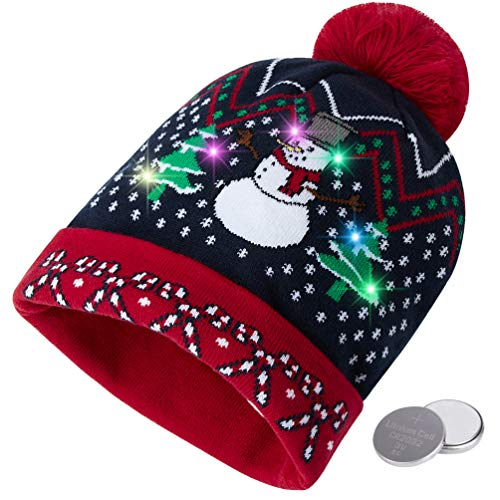 RAISEVERN Unisex Ugly LED Christmas Beanie Hat Lighting-up Holiday Novelty Humorous Snowman Cool Xmas Party