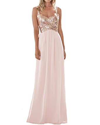 43c40440021 Firose Women s Sequined Sweetheart Backless Long Chiffon Prom Bridesmaid  Dresses 2 Rosegold Baby Pink
