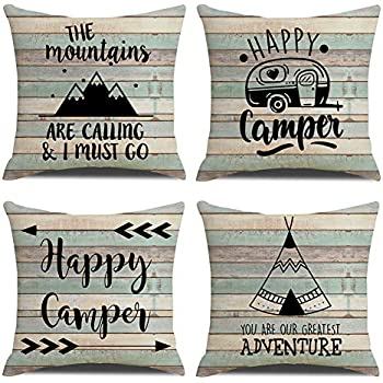 KACOPOL Vintage Rustic Wood Background Happy Camper Pillow Covers Inspirational Quotes Home Outdoor Decorative Cotton Linen Throw Pillow Case Cushion Cover 18
