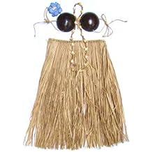 Hawaiian Grass Skirt Set Coconut Bra Top Natural Toddler