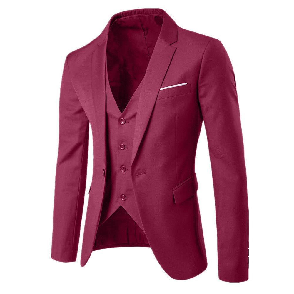ebf7d49c68df Mens 3-Piece Suit Coat, SFE Men's Suit Slim Blazer Business Wedding Party  Jacket Vest & Pants at Amazon Men's Clothing store: