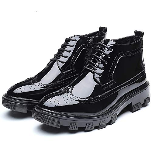 HYF Men's Business Ankle Boots Casual Fashion Anti-skid Thick Patent Leather Brogue Formal Shoes Dress Shoes (Color : Black, Size : 9.5 D(M) US) by HYF (Image #2)