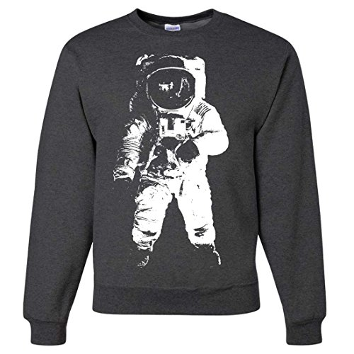 Space Astronaut Man on The Moon White Print Crewneck Sweatshirt - Black Heather X-Large