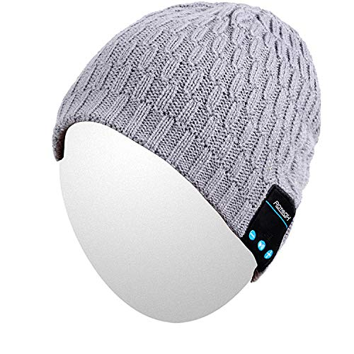 Qshell Bluetooth Beanie, Winter Fashional Hat Double Knit Music Cap with Removal Speakers & Mic Hands Free Wireless Headphones Headsets Earphone for Running Skiing Skating Hiking, Gray