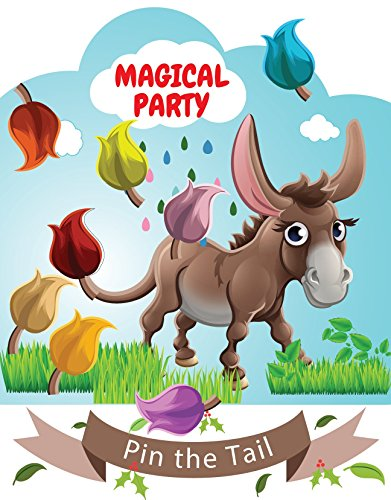 LARZN Pin the Tail on the Donkey Party Favor Games Party Supplies,New, Extra Tails,Pin the Tail Games]()