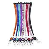 Soleebee 31.5 inches Bling Crystal Rhinestones Leather Neck Strap Lanyard Retractable Badge Reel with Breakaway Safety Clasp (Pack of 9)