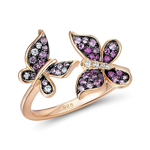 Santuzza 14K Rose Gold Plated Twins Butterfly Ring 925 Silver Created Pink Sapphire and Ruby Stone (Gold-Plated-Silver, 5)