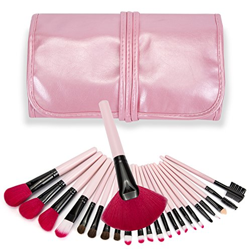 Price comparison product image YEAHTOPE Make up Brush set 24 Pieces Professional Cosmetic makeup Kit With Leather Case-For Eye Shadow, Blush, Concealer, Etc (24-pink)