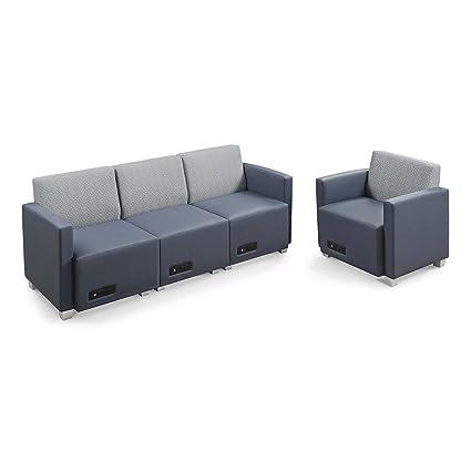 Amazon.com: Compass Sofa and Armchair Silver Fabric Back ...