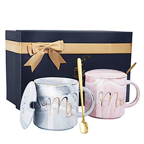 Mr and Mrs Coffee Mugs - Wedding Gift for Bride and Groom-Bridal Shower Engagement Gift and Married Couples Anniversary Gift - Ceramic Marble Cups 12 oz with Gift Card & Decorative ribbon bow-knot. (Ceramic Couple)