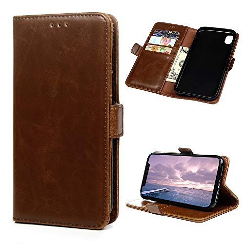 iPhone XR Case 6.1 inch, Wallet Flip Folio Case Kickstand Card Slots Magnetic Closure Pure Color PU Leather Wallet Case Shockproof Soft TPU Rubber Bumper Ultral Slim Wallet Cover for iPhone XR