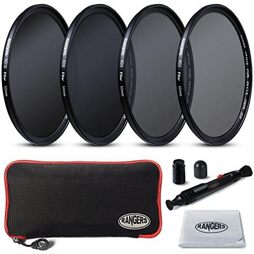 Rangers Focus Series 52mm Full ND Filters Includes Full ND2, ND4, ND8, ND16 Filters + Carrying Case + Lens Cleaning
