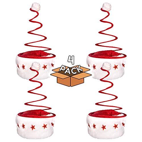 LED Light Up Santa Spring Hat for Kids or Adults - 4 Pack (Santa Spring Hat)