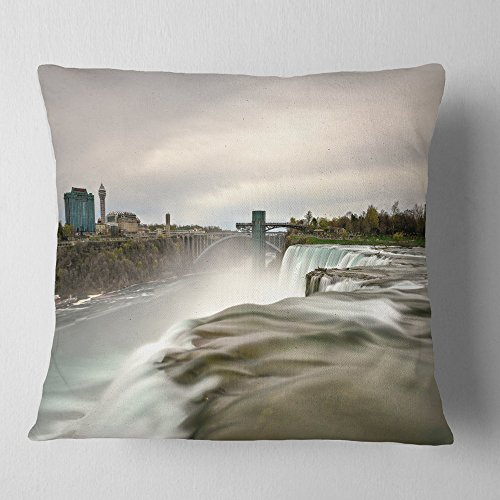 (Designart CU10937-16-16 Niagara Falls Goat Island View' Oversized Beach Throw Cushion Pillow Cover for Living Room, Sofa, 16 in. x 16 in, Pillow Insert + Cushion Cover Printed on Both Side)